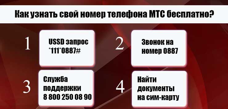 как узнать свой номер мтс на телефоне если нет денег