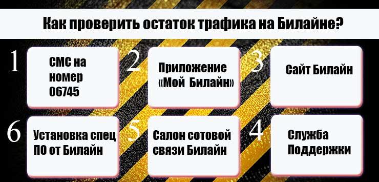 Как проверить остаток трафика на Билайне